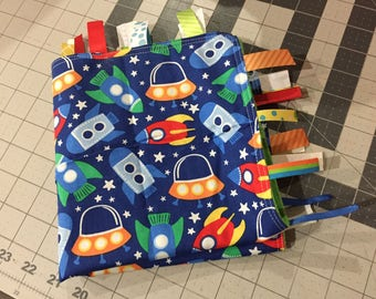 Spaceships Tag Blanket with your choice of Minky // In Stock, READY TO SHIP