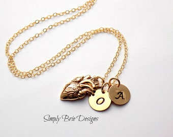 Personalized real heart necklace GOLD FILL Italian bronze Realistic heart necklace Gold heart necklace Two initial jewelry Monogram heart