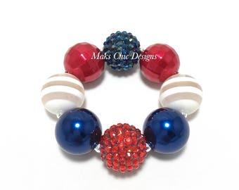 Toddler or Girls Patriotic Chunky bracelet - Red, White and Navy Blue Chunky Bracelet - Fourth of July Chunky Bracelet  -  Red and Blue