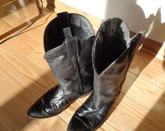 Vintage Black Leather Cowboy Boots, Size 9 Female or Size 7 Male CODE WEST LABEL Boots in Vintage Condition with weathered worn look