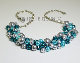 Pearl Cluster Necklace, Gray, Teal & Aqua Cluster Necklace, Teal and Gray Pearl Necklace, Gray Chunky Necklace, Aqua, Teal and Gray Wedding