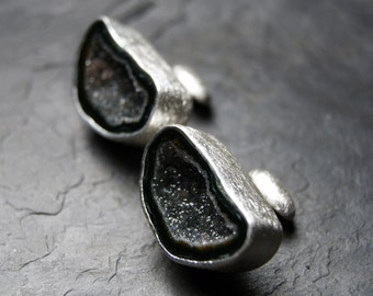 Dark Geode Cufflinks in Sterling Silver
