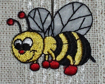 "Iron on Applique Set of 1 Happy Bee Applique Gold, Black,Red and White   1.75"" x  1.5"" Super Cute   Ships Free Inside US"