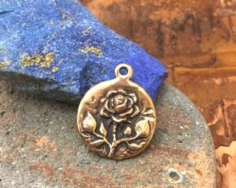 Bronze Rose Love Token Pendant Charm