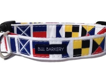 Nautical Flags Dog Collar  for Small to Large Dogs