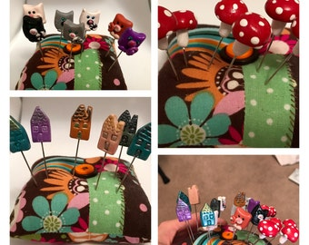 Customized Decorative Pincushion Pins, Owls, Cats, Houses, Mushrooms, Flowers,  Foxes,  etc, Set of 6