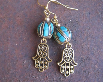 Hamsa Hand Charm and Turquoise Inlay Nepalese Beaded Earrings - Good Fortune Magical Protection Earrings