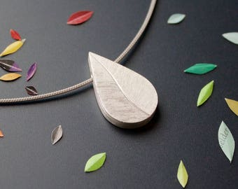 Drop shaped picture locket, Sterling Silver, Leaf, sterling silver picture Locket