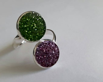 Purple pink and green ring - glitter ring, purple and green ring, round ring, statement ring, hand jewelry, purple and green glitter jewelry