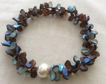Topaz lights leaf necklace . statement necklace