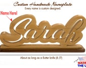 Desktop Nameplates, Custom and Personalized Unique Script Style,  made from Solid Wood, Great Birthday Gift for Kids, Family and Co-workers.
