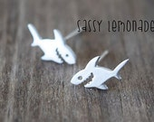 Dainty Shark Sterling Silver Post Earrings / Perfect for Shark Week / Sharks!