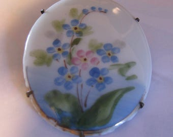 Vintage Hand Painted Porcelain Brooch With Pink and Blue Flowers