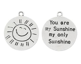 3 You Are My Sunshine My Only Sunshine - Antique Silver Pendants - 28x24mm - Ships IMMEDIATELY from California - SC1344