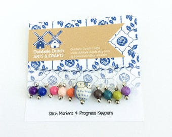 Owl Stitch markers for Knitting and Crochet - Stitch markers numbers marker - Set of 10