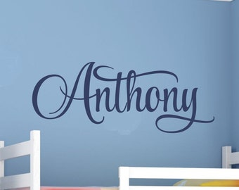 Boys Name Wall Decal Boys Name Decal Boys Bedroom Name Decal Wall Decor Boys Nursery Baby Boy Nursery Personalized Monogram Vinyl Decor