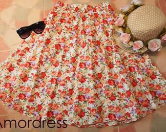 "Tangerine Floral Skater Swing Skirt Vintage Floral Midi Rustic Wedding Skirt  -Free Size Waist 26""-29"""