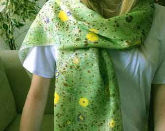 Hand painted silk scarf, painted silk, painted silk scarf, scarf for wife, green yellow scarf, Scarves & Wraps, mothers day gift, long scarf