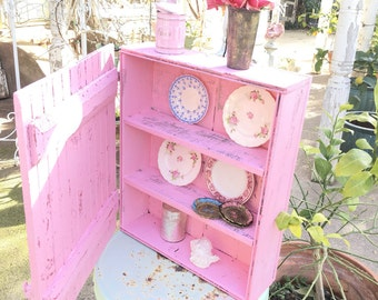 Vintage cupboard  Chippy pink farmfouse door shabby chic   shabby chic cottage chic