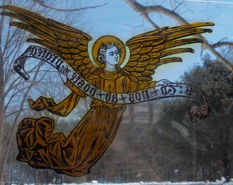 Vintage GOLDEN ANGEL Art Glass Spiritual Religious Home Decor Wings Spread Holding Message