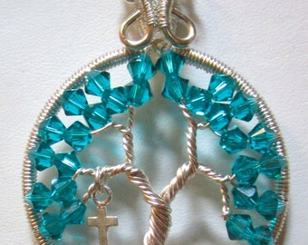 Tree of Life, Blue Zircon Swarovski Crystal Tree of Life, Sterling Silver Cross Charm and Blue Zircon Tree of Life
