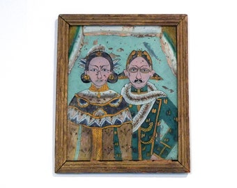 Reverse Glass Painting Vintage Chinese Couple Painting Man and Woman Asian Clothing Traditional Dress Folk Art Handmade Husband Wife 1950s