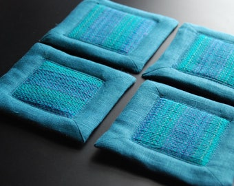 Handwoven Coasters or Mug Mats- Set of Four (4) - Teal/Turquoise