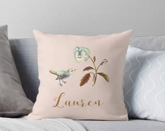 Personalized Watercolor Blue Bird Pansy Floral Cushion Cover in Linen Cotton | Made to Order | Ships in 4-6 weeks from Australia