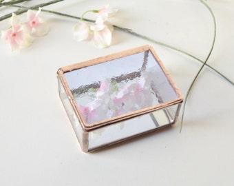 Wedding Ring Box  Small Ring Bearer Box Copper Tone Finish Glass Display Box Small Jewelry Box  Wedding Gift Box