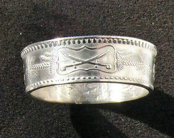 Rare Silver Coin Ring 1955 (1374) Saudi Arabia 1/2 Riyal, Ring Size 8 and Double Sided