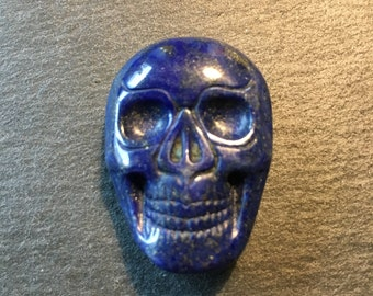 Lapis Lazuli carved skull cabochon - flat back cabochon - for making jewelry - FabbyDabby Stones Item #17-020902