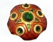 "Festive Star Brooch Original by Robert Green Cabochons Copper Rust Enamel 2 1/8"" Vintage"
