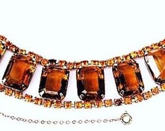 "Juliana D&E Fall Link Bracelet Mink Citrine Rhinestones Gold Metal 7 1/4"" Vintage"