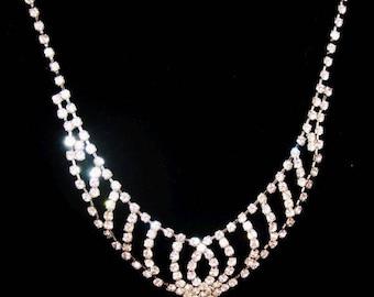 "Rhinestone Wedding Bib Necklace Clear Stones Silver Metal 19"" Vintage"