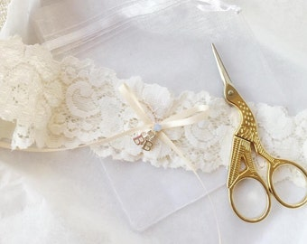 UPGRADE ADD-ON Personalise Your Wedding Garter With Sterling Silver Initials Charms - Upgrade Option