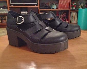 Chunky punk rock gothic black leather roman cangrejeras grec heel platform sandals spanish shoes