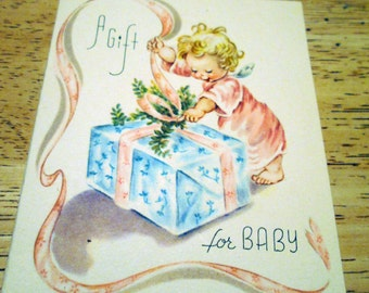Tiny Vintage Baby Cards, three different, 1940s
