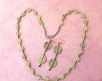 Unusual Bohemian Style Necklace and Earrings Set