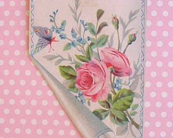 Pretty Little Victorian Scrap with Roses and Butterfly
