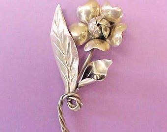 Lovely Vintage Hand Made Sterling Silver Rose Brooch