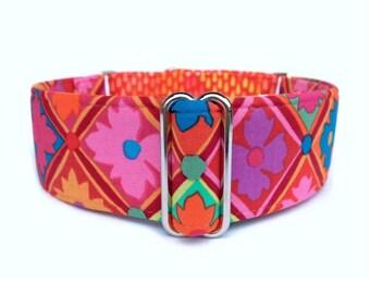 "Fire Garden Dog Collar - 1"" or 1.5"" Bold Flower and Fire Rain Martingale Collar or Adjustable Buckle Collar"