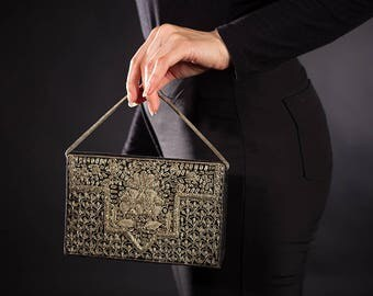 Vintage 1950's Zardozi Bullion Embroidered Evening Bag Made In India