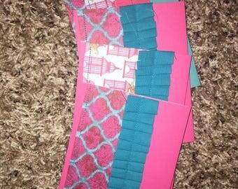Pink & Aqua Handmade Cards