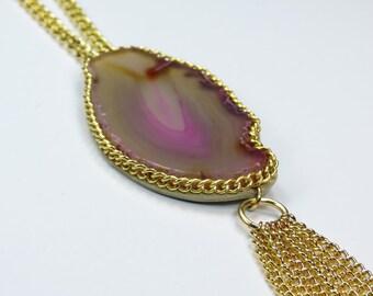 Pink Gemstone Pendant Necklace, Long Boho Pendant Necklace, Statement Pendant, Chain Fringe Pendant Necklace, Pink Pendant Necklace