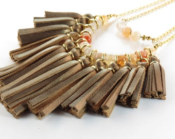 Leather Fringe Necklace in Bronze, Statement Necklace, Boho necklace, Leather bib necklace, tassel bib necklace, Leather Necklace
