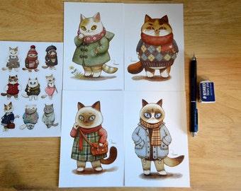 Cat Winter Fashion Postcard and Sticker Set