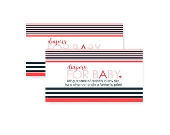 Chic Stripe Diaper Raffle Card - Navy & Blush - Baby Shower Game - Invitation Insert - Printed Set of 25