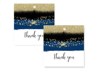 Navy & Gold Favor Tag -- Brushstroke Design -- Wedding Labels -- Boys Baby Shower -- Mod Party Supplies -- Paper Goods -- Pack of 25 Printed