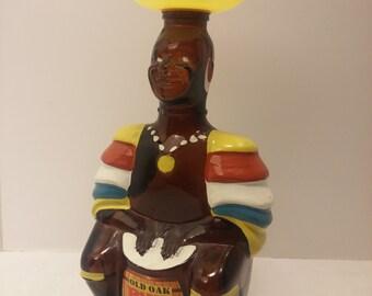 Vintage Oak Oak Rum Limbo Drummer Bottle - Figural Dancer, Native, Islander, Trinidad, Angostura - Home Bar, Kitsch, 70s