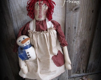 Primitive Christmas Raggedy Ann ~ Snowman Doll~Handmade Holiday Decor